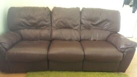 Brown Leather recliner sofa,3 plus 2 seater.
