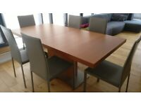 BO CONCEPT EXTENDING DINING TABLE + 6 CHAIRS -- Walnut Wood