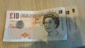 3 consecutive good grade £10 banknotes