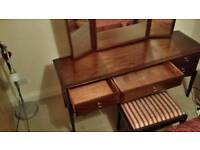 Dressing table with mirrors and stool