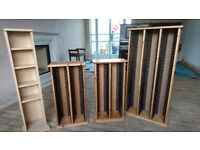 CD Racks : Three pine racks with individual pop out racks , one other