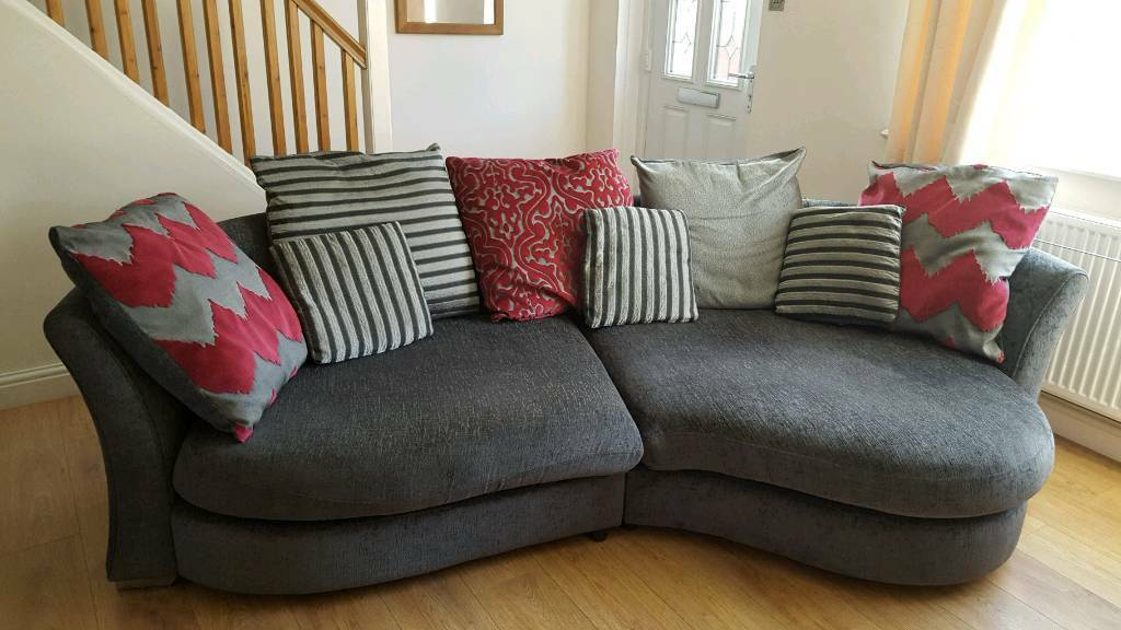3 seater sofa and cuddle sofain Todmorden, West YorkshireGumtree - I have a raspberry and grey 3 seater large sofa with left hand chaise and a 2 seater cuddle sofa (but both do seat more). The large sofa has foam cushions so no sagging in it over time from use. Quite large so please check measurements before coming...