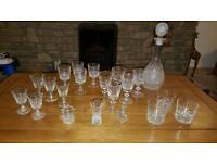 Large selection of crystal including decanter