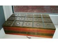 Vintage antique jewellery box with key