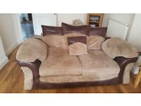 2 seater sofa and armchair vgc jumbo cord with leather trim pick up sunday 7th August or after
