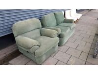 Green M&S 2 Seater Sofa & Reclining armchair