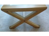 Light Oak Coffee Table, with tempered glass insert.