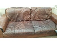 Brown Leather Three Seater Sofa And Chair