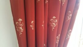 heavy weight lined curtains with matching box pelmet - terracotta