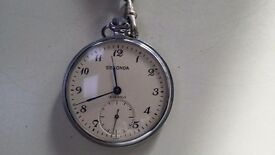 VINTAGE SECONDA 19 JEWELS POCKET WATCH - WORKING WITH A LEATHER STRAP