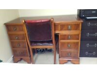 Reproduction Yew Desk and uphostered chair