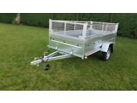 BRAND NEW MODEL 8.7X4.2 SINGLE AXLE TRAILER WITH 40CM MESH WITH RAMP