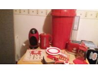 Household kitchen goods all in red