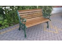 NEW UNUSED HEAVY CAST IRON BENCH IN GREEN METALLIC FINISH