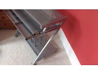 Grey Metal Aluminium Computer Desk 2x Trays (keyboard and stationary)