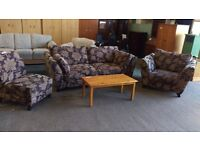 DFS violet floral fabric 2 seater, armchair and chair sofa suite