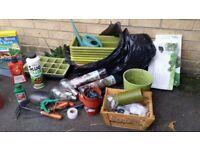Full set (2 big bags) for garden / pots / tools / fertilizes / bulbs / accessories / etc.