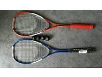 2 x Artengo Squash Rackets & 4 new Balls & cases