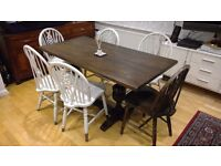 shabby chic solid wood table and 6 chairs