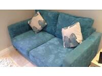 DFS 2 seater fabric sofa in blue condition as new hardly used
