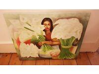 Flower Market Scene Canvas Painting