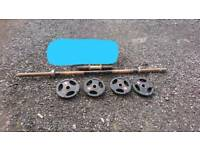 Solid axle 30kg, loadable dumbbell bar 10kg and 4x10kg olympic plates