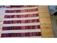 Striped purple velvet and mink linen roman blind with mechanism W1030 x D1030