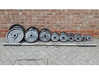BODY POWER 145KG OLYMPIC WEIGHTS SET WITH 7FT BARBELL