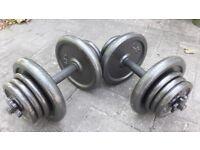 39KG CAST IRON DUMBBELL WEIGHTS SET - 2 x 19.5KG