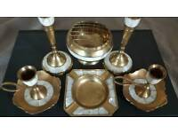 Vintage Indian brass and mother of pearl table set