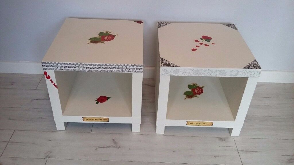 Two uniquely upstyled coffee/occasional tables.