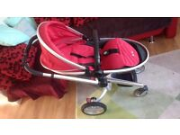 silvercross 2 red + car seat + accessories