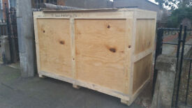 large wooden crate for transportation/storage - 194cm W x 132 cm H x 118cm D