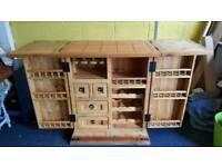Large breakfast bar kitchen island drinks cabinet solid wood terracotta tiles