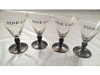 4 VINTAGE PINK LADY CHAMPAGNE/WINE GLASSES
