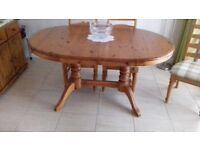 Extendable pine dining room and matching chairs