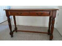Mahogany coloured hall table with 2 drawers