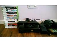 XBOX 360S WITH 45 GAMES, 23 DOWNLOADED AND 22 ON DISC