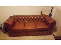 VINTAGE OX BLOOD CHESTERFIELD 3 SEATER SOFA
