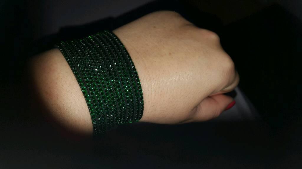 Green crystal wrap bracelet