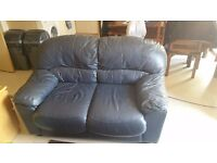Two, two seater navy leather sofas £100 collection only