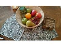 Dinner mats place mats bowl of fruit
