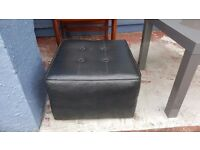 Black Leather Footstool in Good Condition