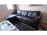 Furniture Village Dark Brown Leather Corner Sofa Bed