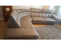 Leather Grey large corner Sofa Settee - reclining head rests