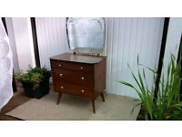 Original vintage 1950's oak dressing table with etched mirror and drawers