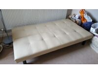 Faux leather beige sofa bed (single)