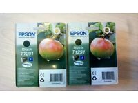2 x genuine epson black T1291 ink