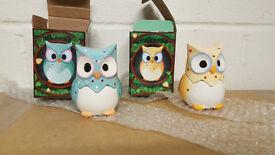 Owl Egg Cup and Salt Cellar x2