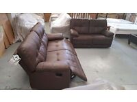 NEW Axis From ScS LEATHER 3 Seater Manual Recliner & 2 Seater Manual Recliner **CAN DELIVER**